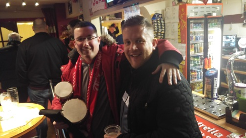 Chairman Hickman and CJ in the Hemel FC bar prior to our home game against Sutton