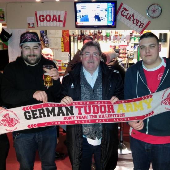 Alex, Stefan, Hemel FC Chairman Dave, and Marcel in the Tudors Tavern after the Ebbsfleet game