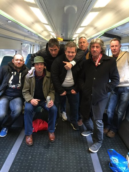 The Tudors Army on the train to Brighton for our (postponed) game at Whitehawk