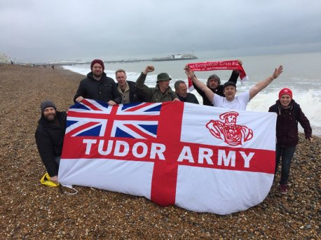 The Tudors Army on Brighton beach, on route to our (postponed) game at Whitehawk