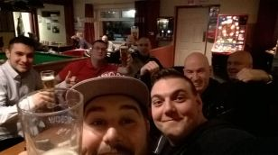 Stefan, Marcel, Don, Mel, Kevin and Alex in the Tudors Tavern, the night before the Ebbsfleet away game