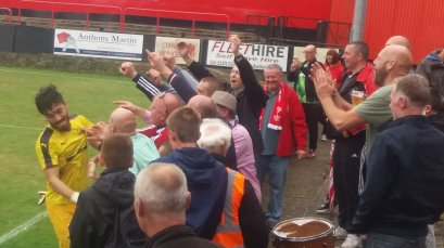 Tudors fans celebrate the 2-3 win away to Welling Utd, 2016/17