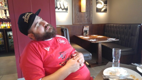 Stefan taking a nap prior to the 2016/17 St Albans away game