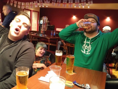 Marcel, Kaddy and Stefan in the Vauxhall Road bar, the night before The Tudors home game against Gosport, 2016/17