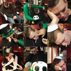 """a tired Marcel """"celebrates"""" his birthday in the Vauxhall Road bar, the night before The Tudors home game against Gosport, 2016/17"""