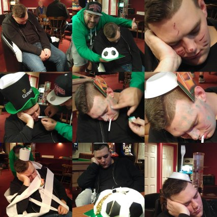 "a tired Marcel ""celebrates"" his birthday in the Vauxhall Road bar, the night before The Tudors home game against Gosport, 2016/17"