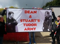 CJ and Colin with the Tudor Army flag, before the Whitehawk home game