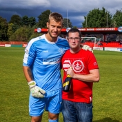 Tudors 'keeper Laurie Walker was presented with a bottle of champagne prior to our home game against Braintree, by Tudors fan Kevin Hickman.