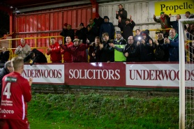 during the game between Hemel Hempstead Town FC vs Dulwich Hamlet in the Vanarama National League South at Vauxhall Road, Hemel Hempstead on December 8th 2018